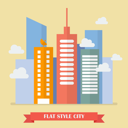 city live: Modern building in flat style. Vector Illustration