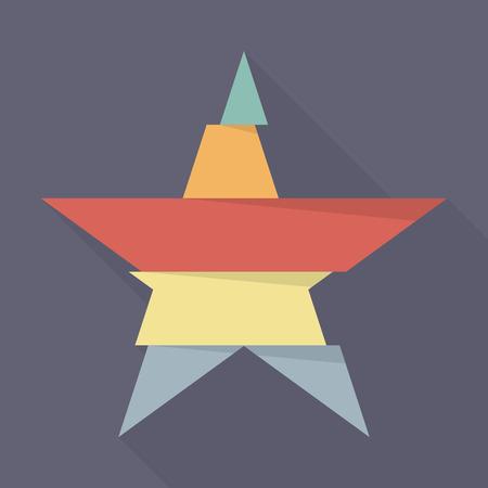 five star: Step design of five part star. Flat style design Illustration
