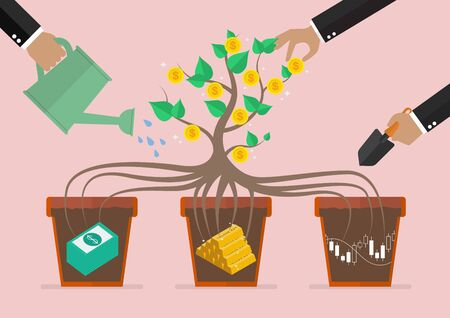investment concept: Take care your business investment. Business concept Illustration