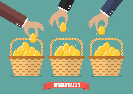 financial diversification: Allocating eggs into more than one basket. Business diversification concept
