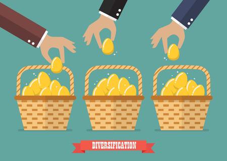 Toewijzen van eieren in meer dan één mand. Diversificatie-concept