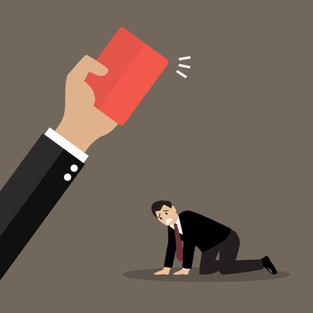Mano de la protuberancia que muestra una tarjeta roja a su empleado. Concepto de negocio
