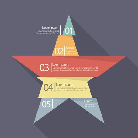 five star: Step design of five part star infographic. Flat style design Illustration