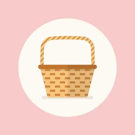 wicker basket: Wicker basket flat icon. Flat stle design