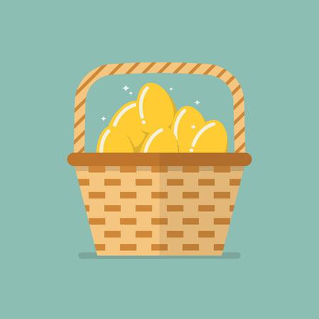 huevo caricatura: Huevos de oro en cesta de mimbre icono plana Vectores