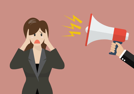 scold: Hand hold megaphone screaming to business woman. Business concept Illustration
