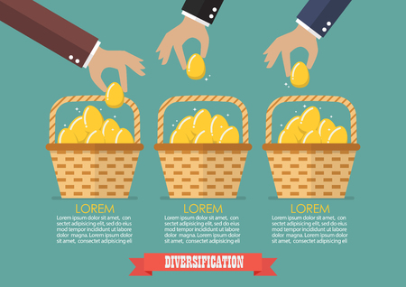 passive earnings: Allocating eggs into more than one basket infographic. Business diversification concept