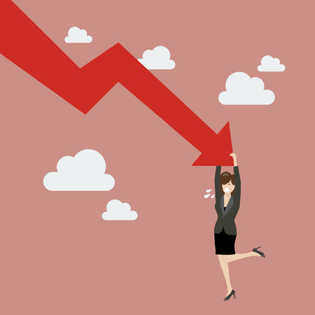 graph down: Business woman try hard to hold on falling graph down. Business Concept Illustration