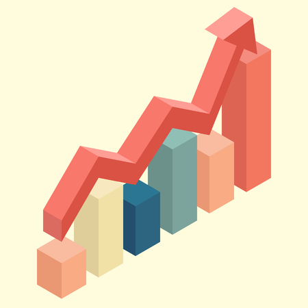 economics: Red arrow growth with bar chart isometric. Economic growth concept