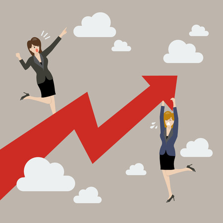 hold high: Business woman standing on a growing graph with woman hold on graph. Business hindrance concept