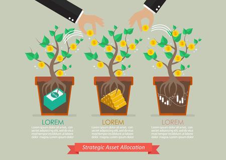 allocation: Strategic asset allocation infographic. Business concept