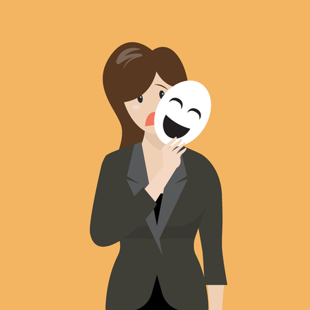 fake smile: Fake business woman holding a smile mask. Metaphor concept