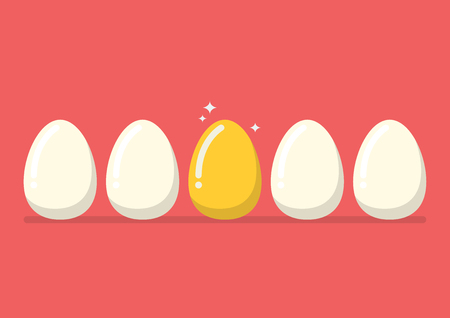 usual: Golden egg among the usual. flat style design