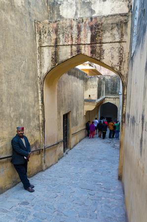 jagmandir: Jaipur, India - December 29, 2014: Tourist visit Amber Fort in Jaipur, Rajasthan, India on December29, 2014. The Fort was built by Raja Man Singh I. Editorial