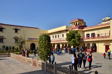 jagmandir: Jaipur, India - December 29, 2014: People visit Amber Fort in Jaipur, Rajasthan, India on December 29, 2014. The Fort was built by Raja Man Singh I.