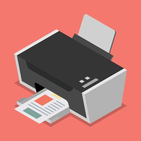 multifunction printer: Printer flat style isometric. Vector illustration