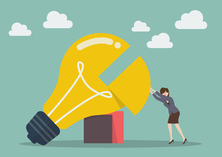missing piece: Business woman pushing missing piece in big lightbulb. Business concept