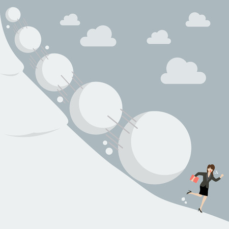 Business woman running away from snowball effect. Business concept