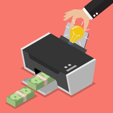 Transform the idea to the money by printer. Business concept