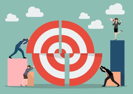 ビジネスのチームワークが大きな目標の部分を押します。チームワークのビジネス コンセプト  イラスト・ベクター素材