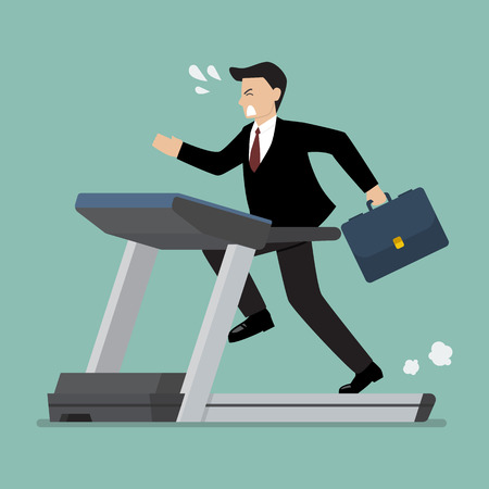 Businesswoman running on a treadmill. Business concept
