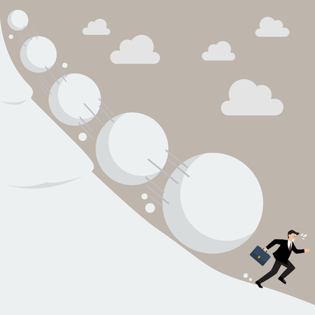 Businessman running away from snowball effect. Business concept Фото со стока - 59191467