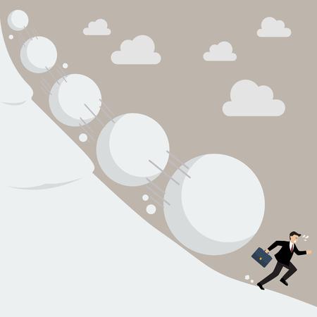 Businessman running away from snowball effect. Business concept