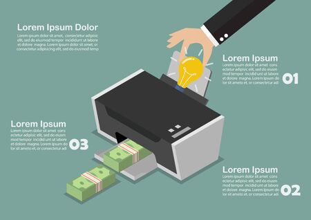 multifunction printer: Transform the idea to the money by printer infographic. Business concept Illustration