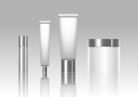 ether: Blank cosmetic tubes isolated on background. Vector illustration