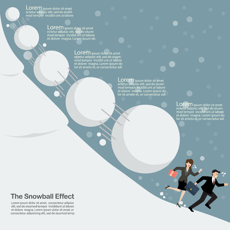 causal: Business man and woman running away from snowball effect. Business concept infographic Illustration