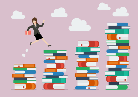 smart goals: Business woman jumping over higher stack of books. Business education concept