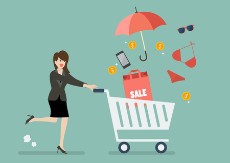 shopping people: Business woman add clothing and accessories into cart. Shopping concept Illustration