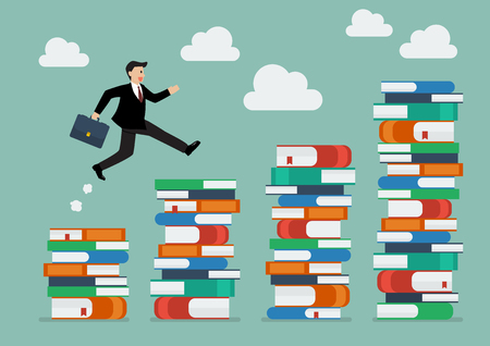 smart goals: Businessman jumping over higher stack of books. Business education concept Illustration