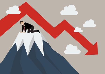 despondency: Businessman stuck on a top hill. Business concept Illustration