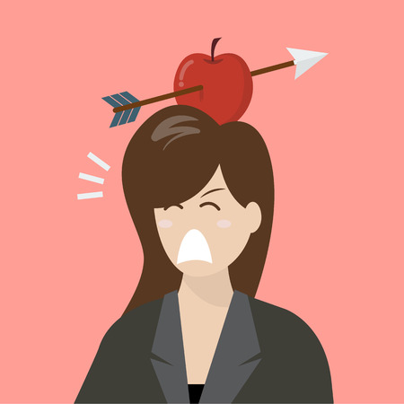 business risk: Business woman with apple and arrow on her head. Business risk concept Illustration