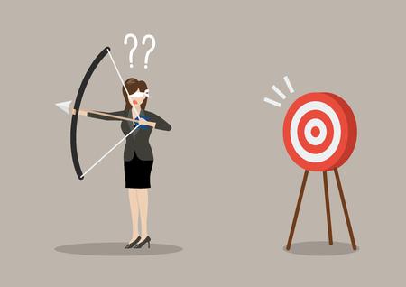 Blindfold Business-Frau für Ziel in die falsche Richtung zu suchen. Geschäftskonzept Vektorgrafik