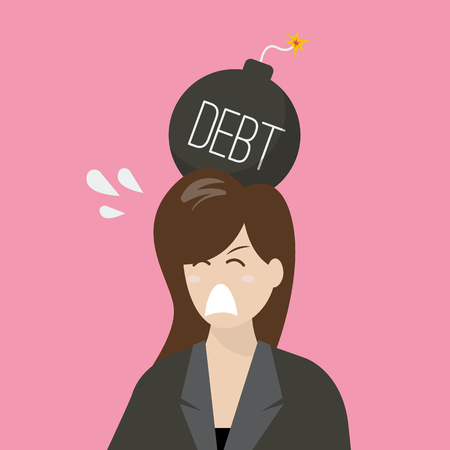 business risk: Business woman with debt bomb on her head. Business risk concept Illustration