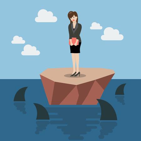 obstacle: indefensa mujer de negocios en una pequeña isla rodeada por el cual los tiburones. Concepto de negocio Vectores