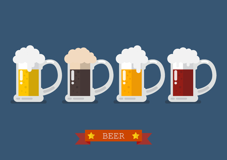 Set of glasses of light and dark beer. Flat style vector illustration