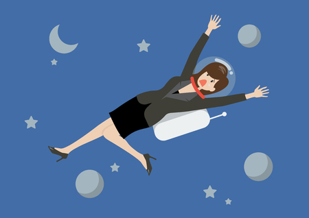 woman floating: Business woman floating in the space. Business concept Illustration