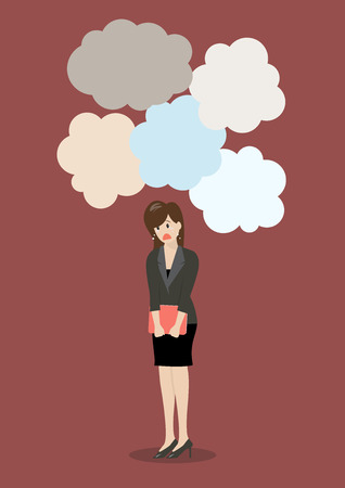 Business woman under a lot of trouble. Business concept Illustration