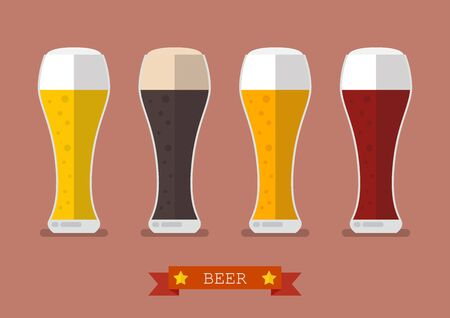beers: Four glasses of different beers icon. Flat style vector illustration