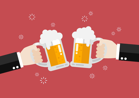 toasting: Two businessmen toasting glasses of beer. Vector Illustration