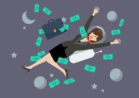 woman floating: Greedy business woman floating in the space. Business concept Illustration