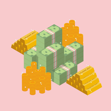 Pile of cash with gold ingots and coin. Flat style isometric