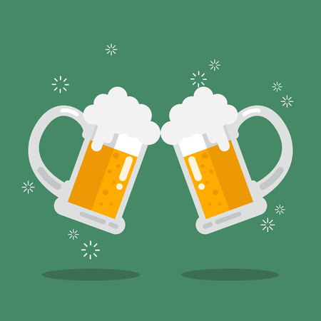Toasting glasses of beer. Vector Illustration Illustration