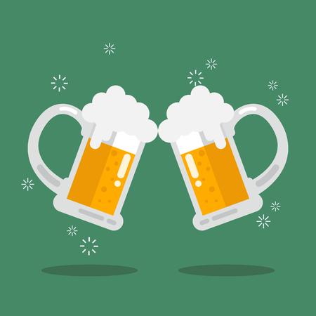 beer stein: Toasting glasses of beer. Vector Illustration Illustration