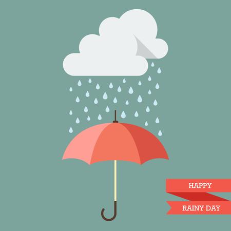 rain drop: Cloud with Rain drop on umbrella. Flat style vector illustration