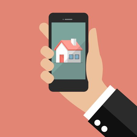hand holding smart phone: Hand holding smart phone with house icon. vector illustration