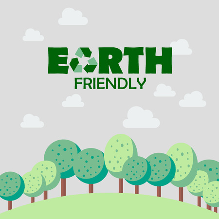 earth friendly: Earth friendly concept. Postcard vector illustration Illustration